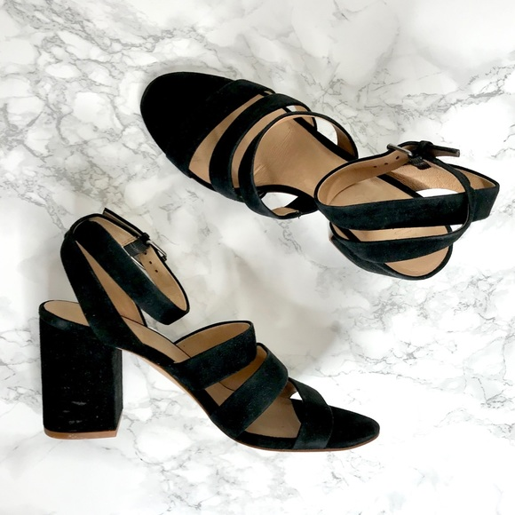 Madewell Shoes - Madewell Black Suede Block Heels Sandals Size 9.5